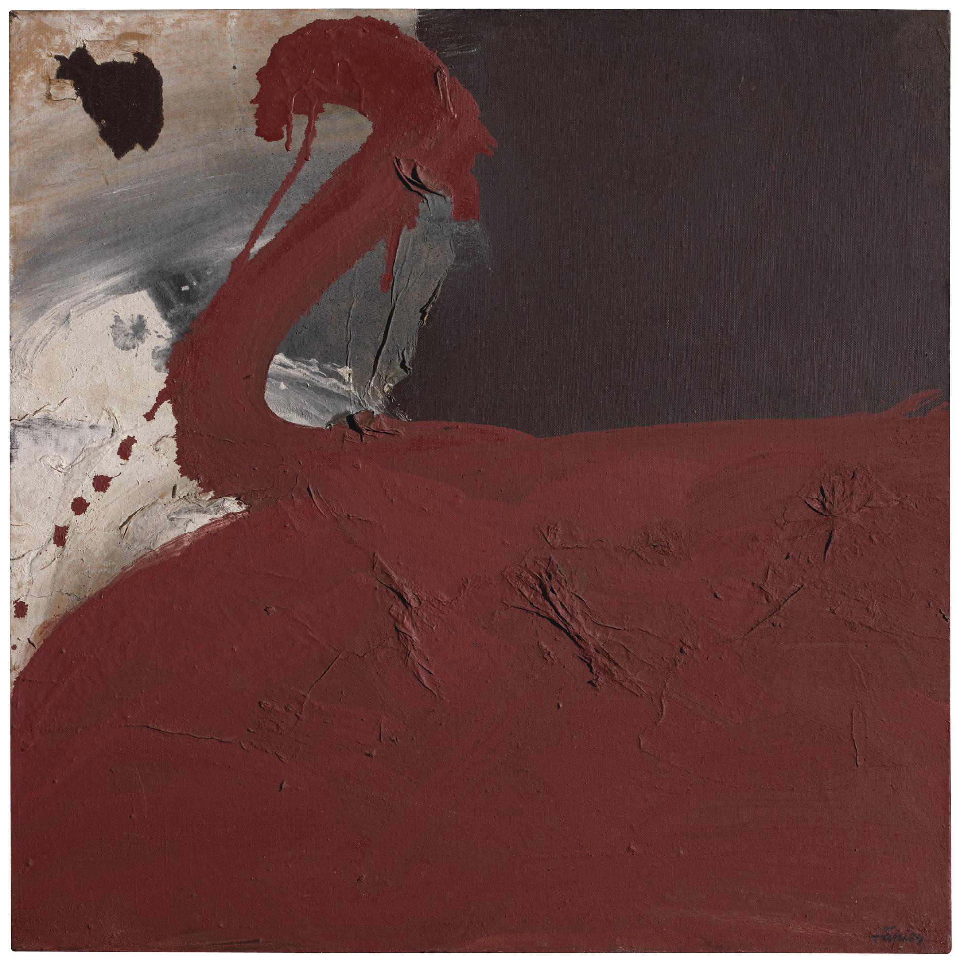 Antoni Tapies Pinturas Pintura Collage Oxid Vermell Rusty Red Painting Collage Widewalls