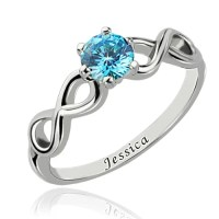 Double Infinity Promise Silver Name Ring with Birthstone