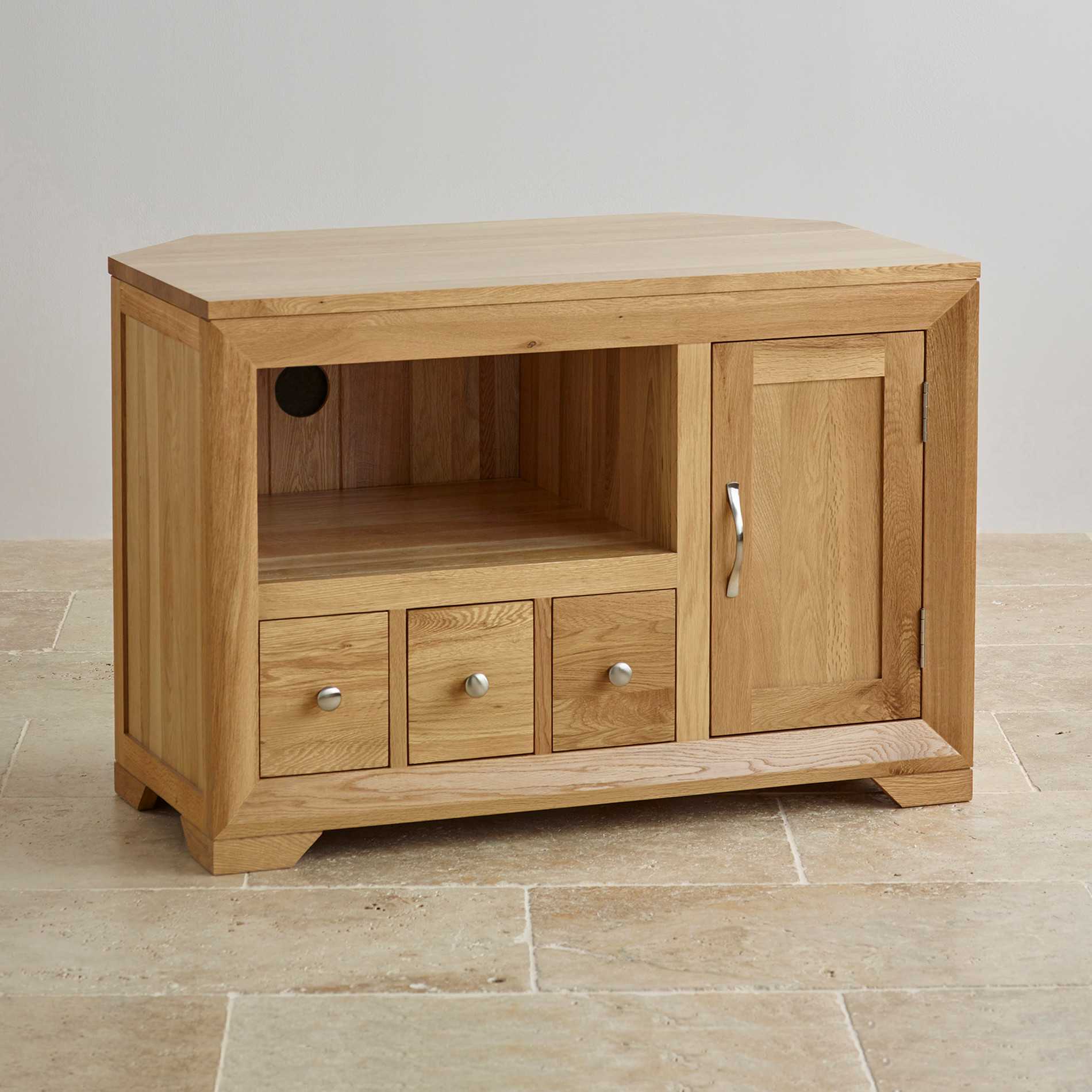 Bevel Small Corner TV Cabinet in Solid Oak