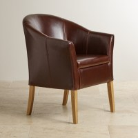 Brown Leather Tub Chair with Solid Oak Legs | Oak ...