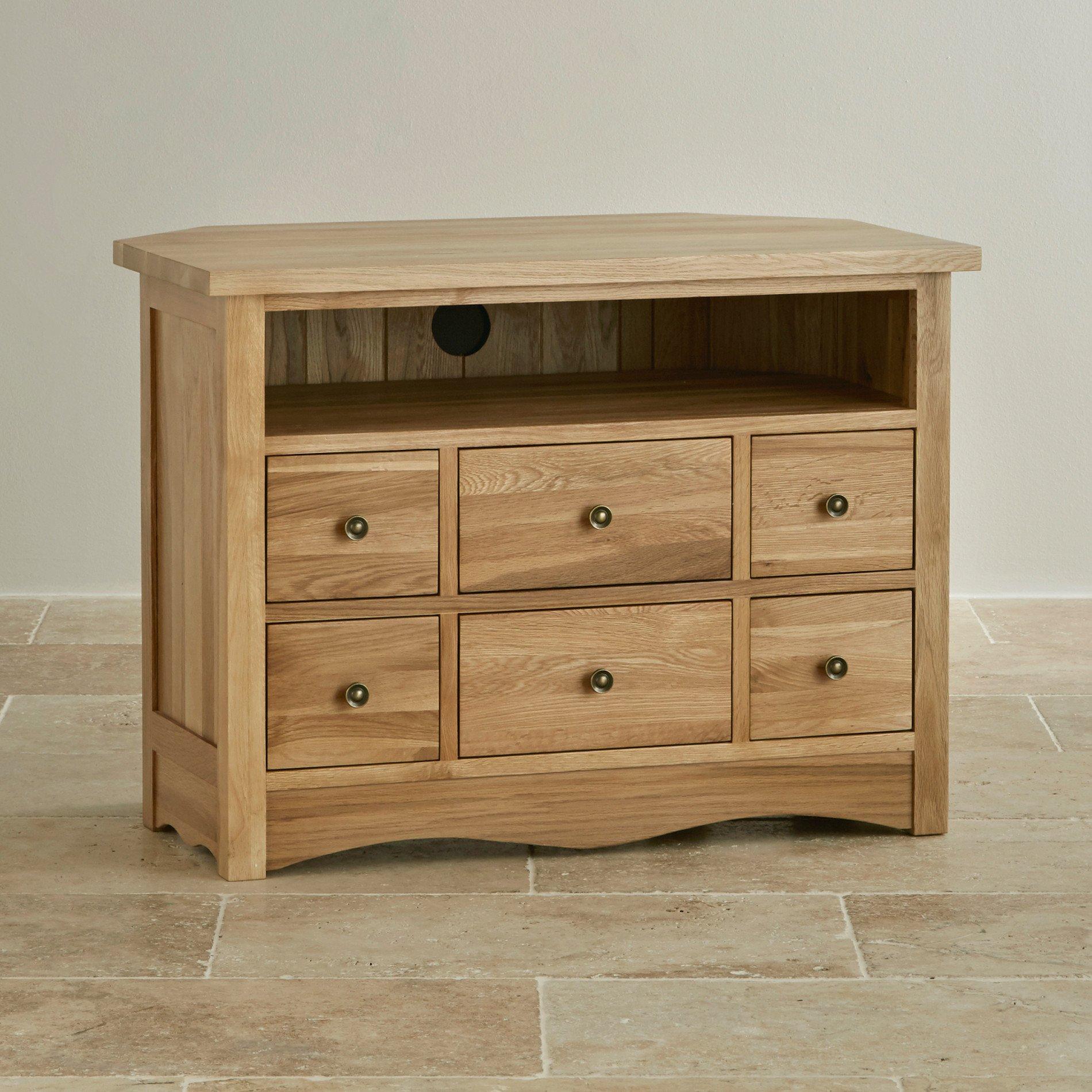 Cairo Corner Tv Cabinet In Natural Solid Oak Oak