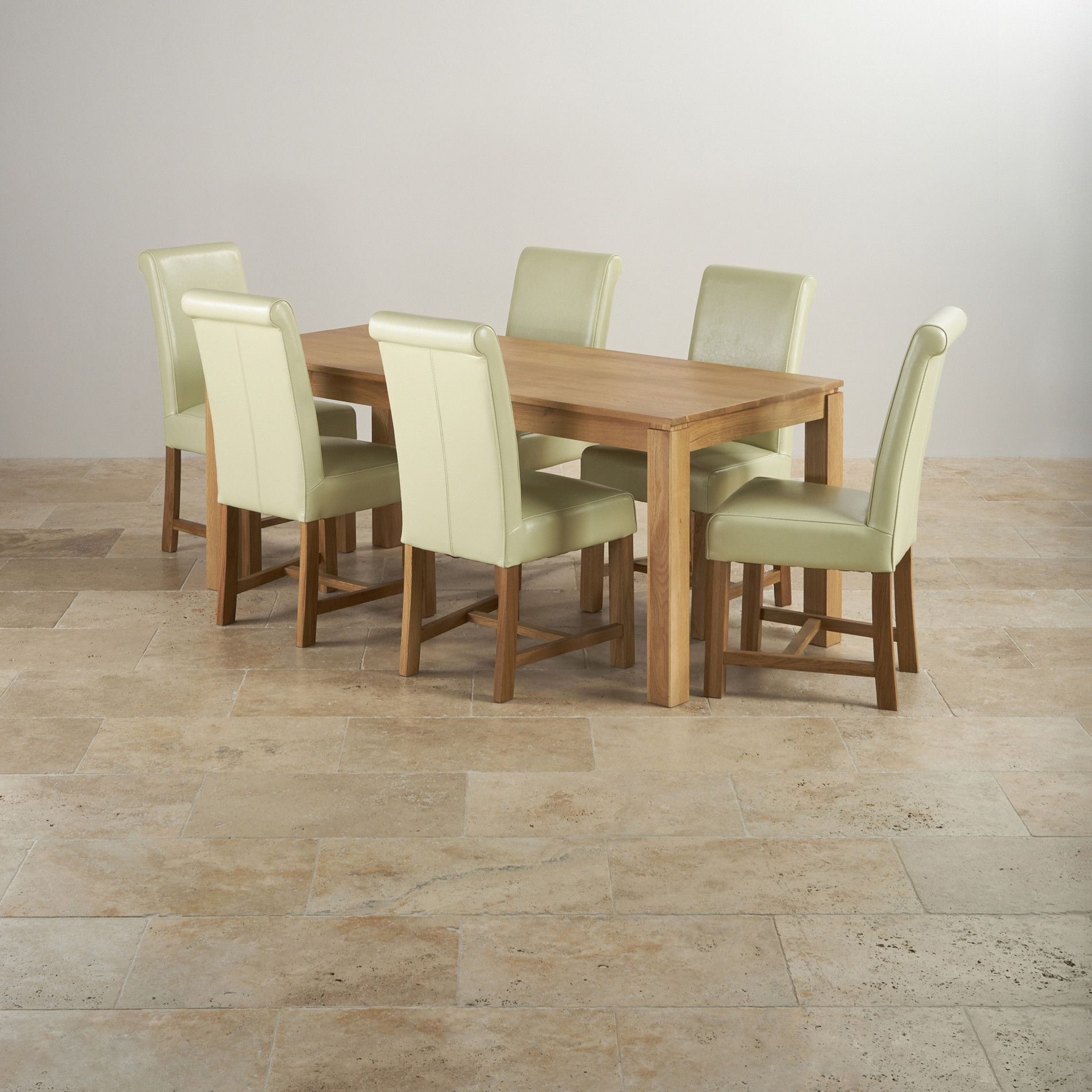 6 Ft Square Dining Table Galway Dining Set In Natural Oak 6ft Table 43 6 Leather