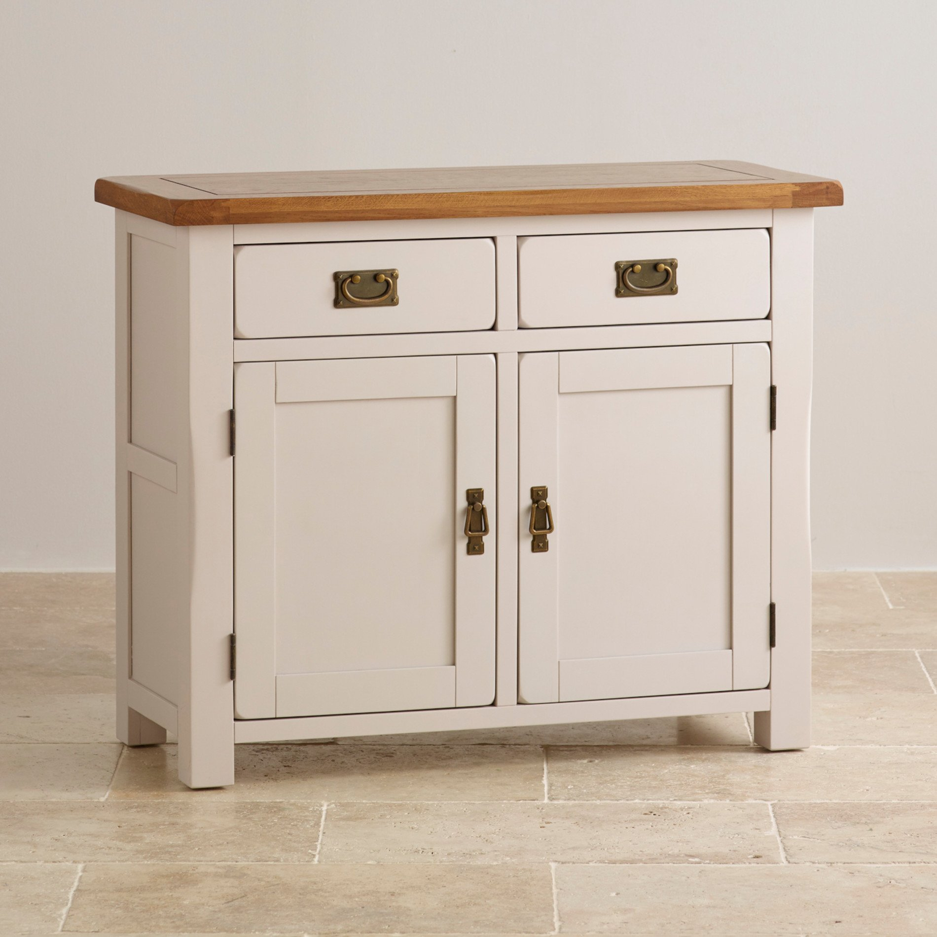 Side Board Kemble Small Painted Sideboard In Rustic Solid Oak