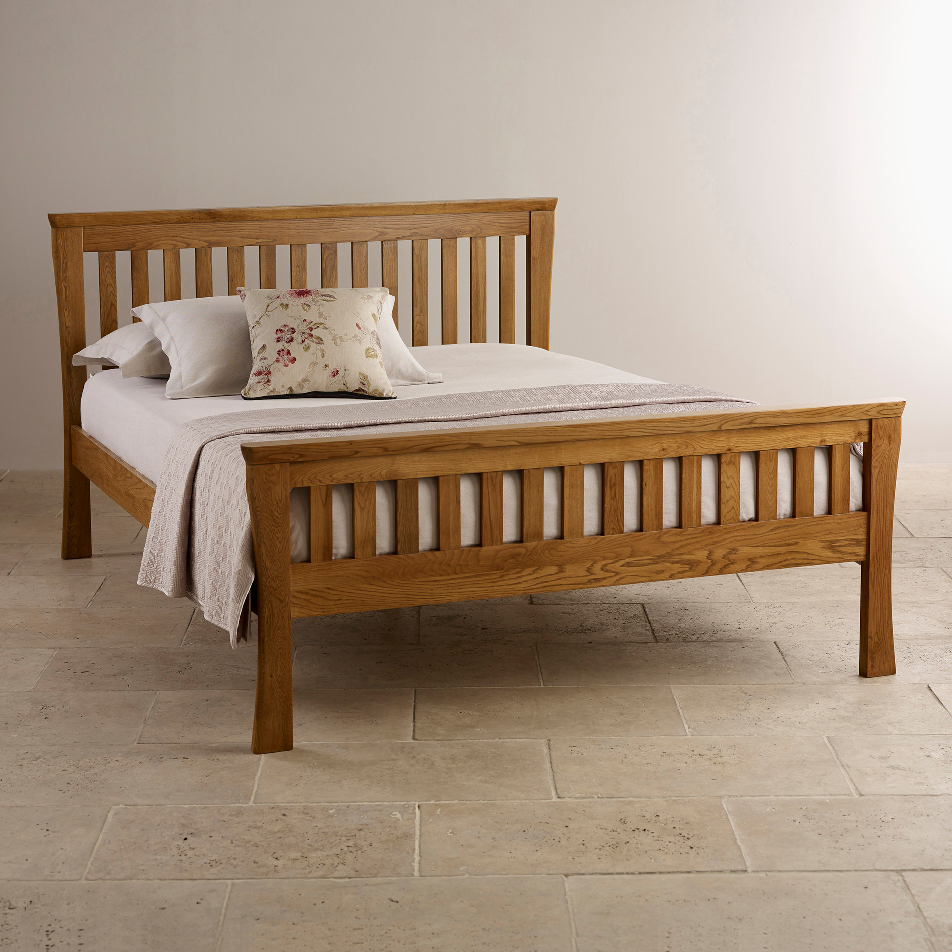 King Size Bed Size Orrick King Size Bed Rustic Solid Oak Oak Furniture Land