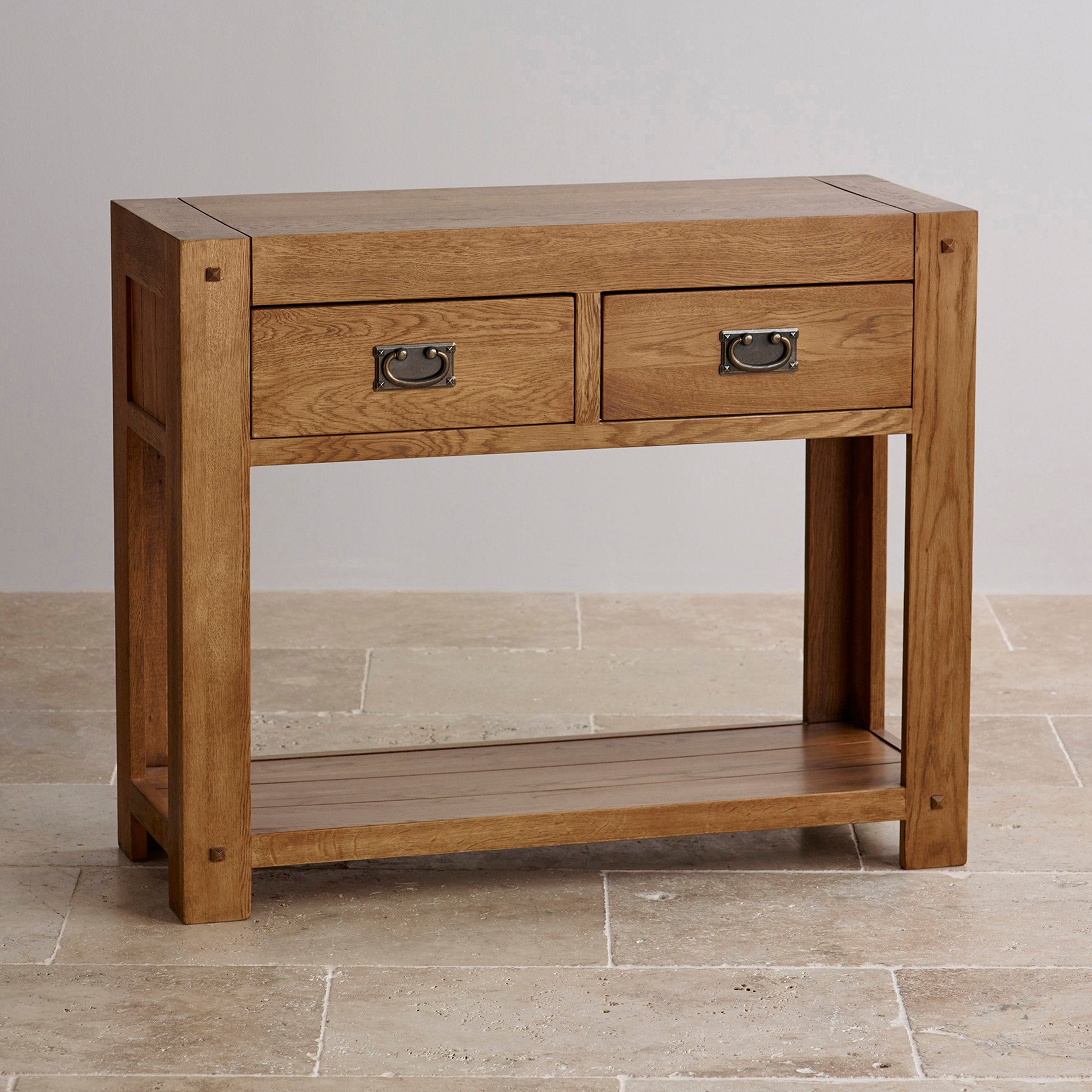 Table Consoles Quercus Console Table In Rustic Solid Oak Oak Furniture Land