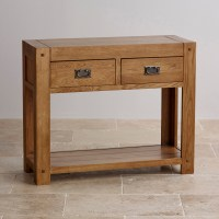 Quercus Console Table in Rustic Solid Oak | Oak Furniture Land
