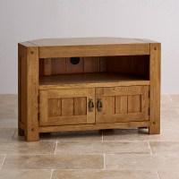Quercus Corner TV Cabinet in Rustic Solid Oak   Oak ...