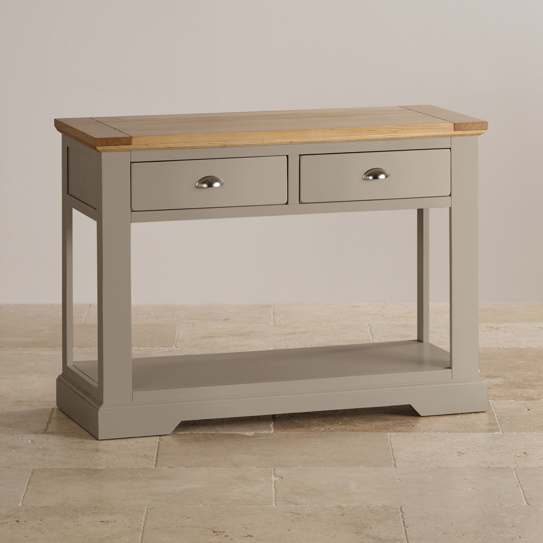 Console Table Natural Oak And Light Grey Painted Console Table
