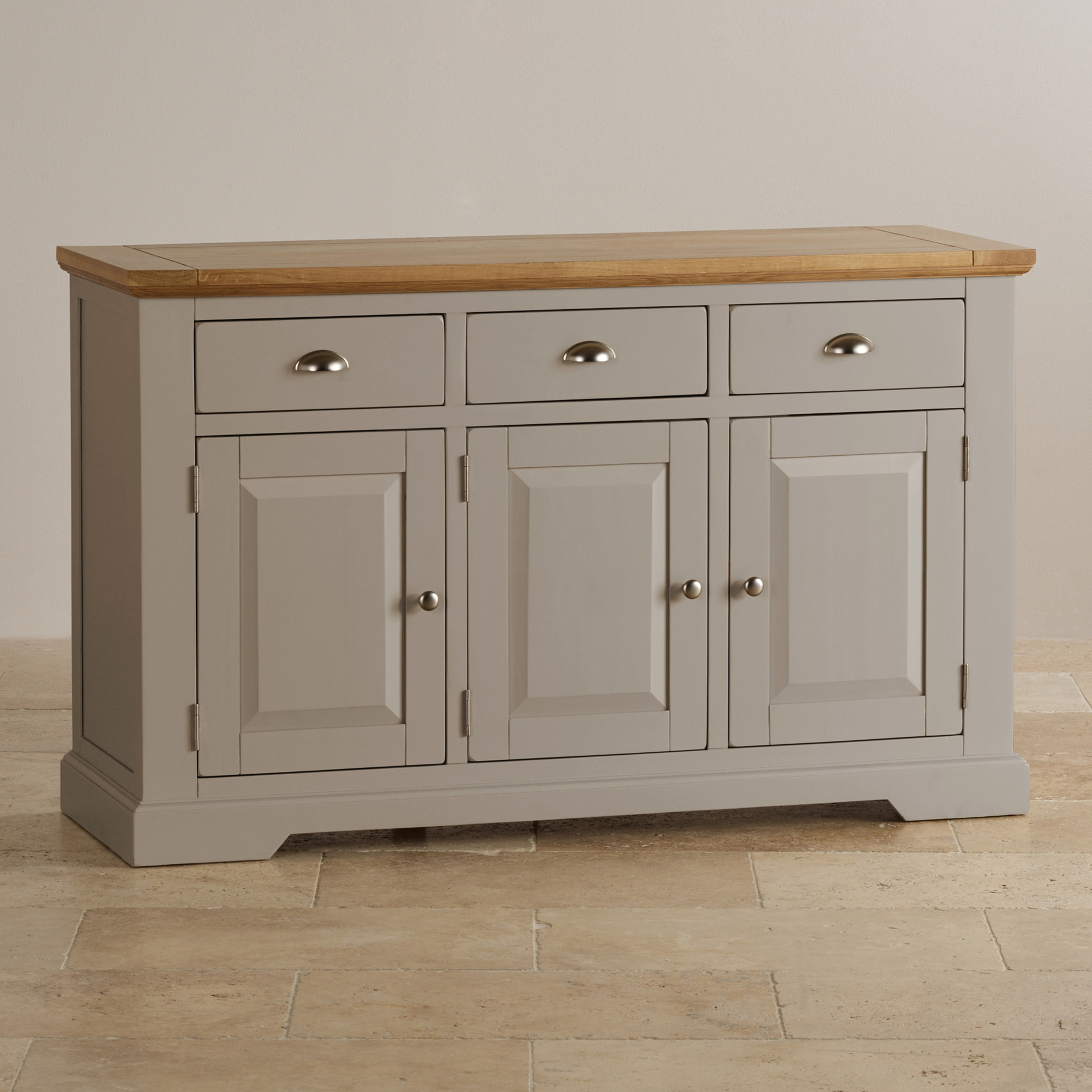 Side Board St Ives Large Grey Sideboard In Solid Hardwood Brushed
