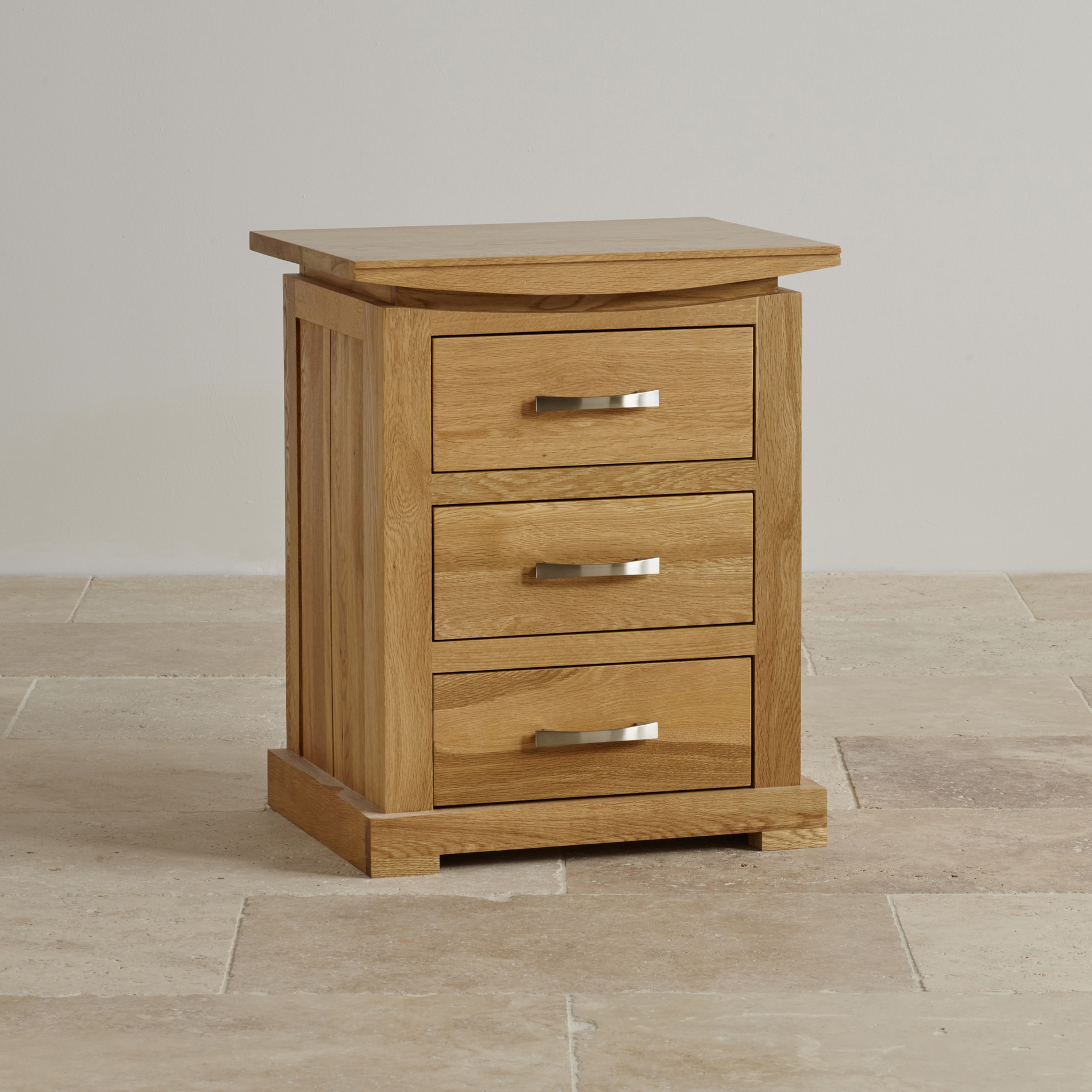 Oak Side Table With Drawer Tokyo 3 Drawer Bedside Table In Solid Oak Oak Furniture Land