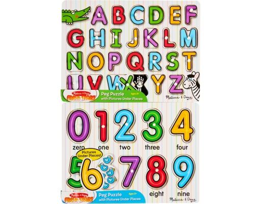 Melissa Doug Peg Puzzles 2 Count Alphabet Numbers