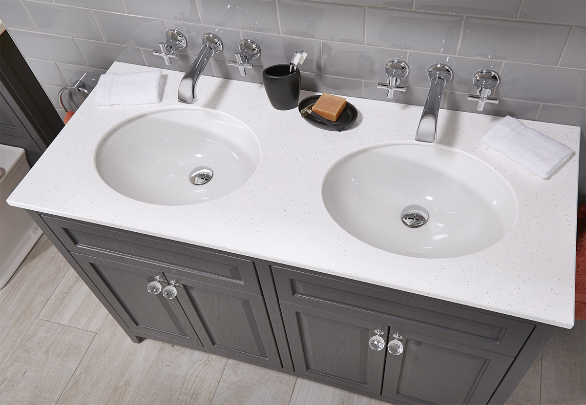 1200mm Vanity Units Downton 1200mm Vanity Unit With 2 Basins And Solid Surface