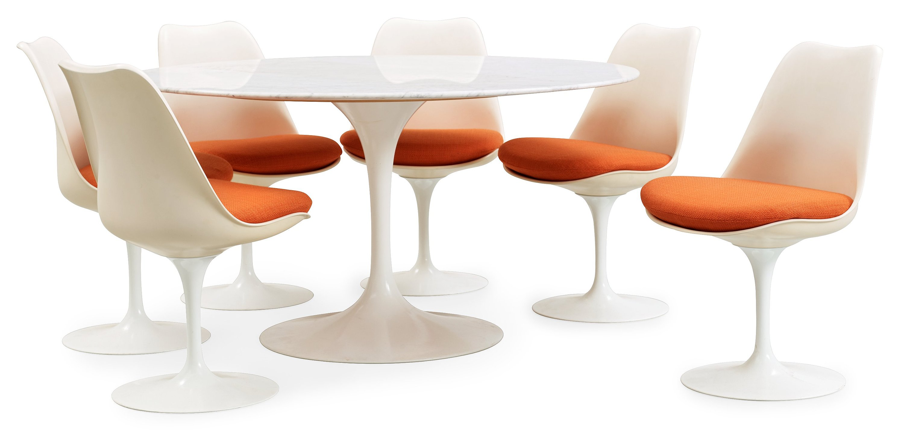 Knoll International An Eero Saarinen Tulip Marble Top Table And Six Chairs Knoll