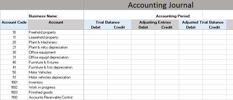 Free Accounting Templates in Excel - Accounting Worksheet Template