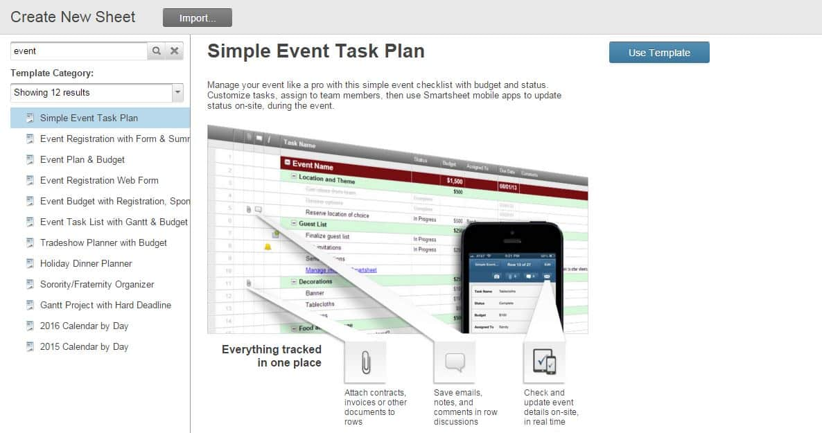 How to Use Smartsheet as Event Management Software - event agendas
