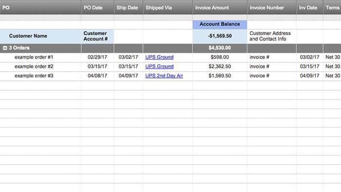 Smartsheet - sample sale order template