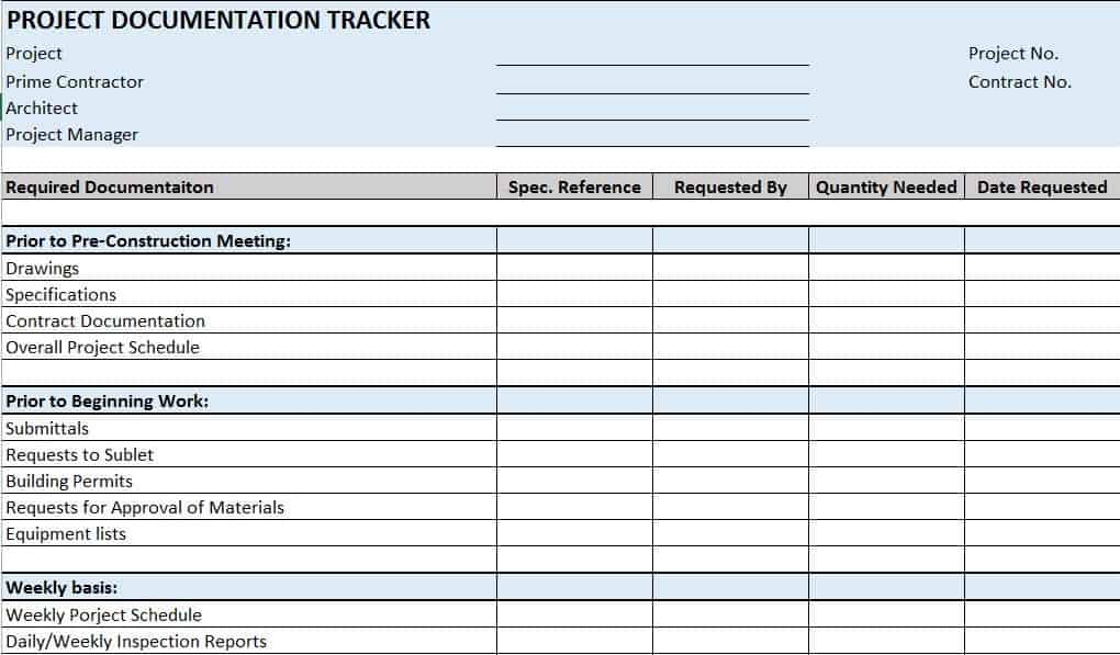 Free Construction Project Management Templates in Excel - job progress report