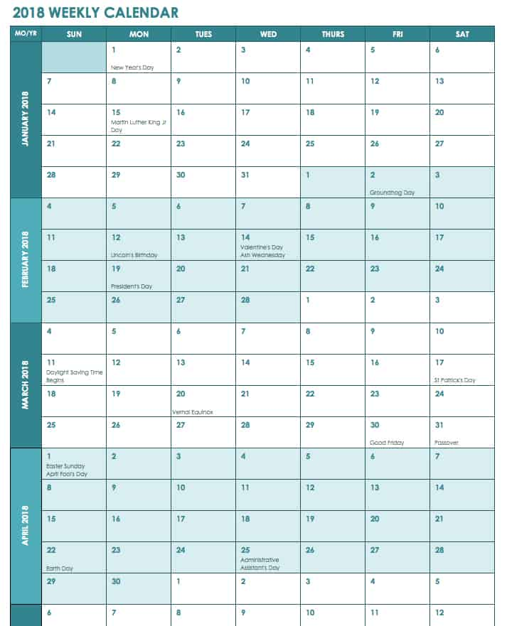 Free Excel Calendar Templates - sample quarterly calendar templates
