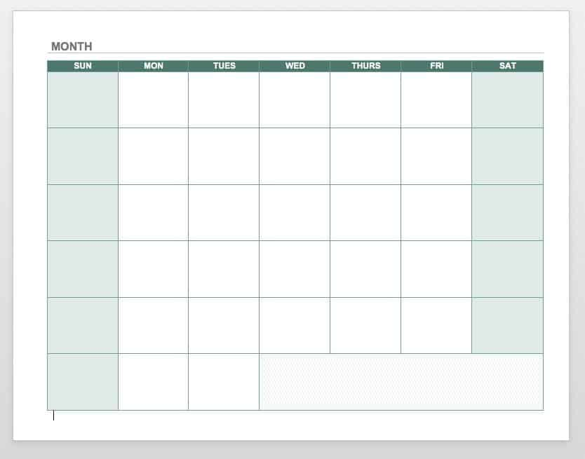 Free Blank Calendar Templates - Smartsheet - calendar template