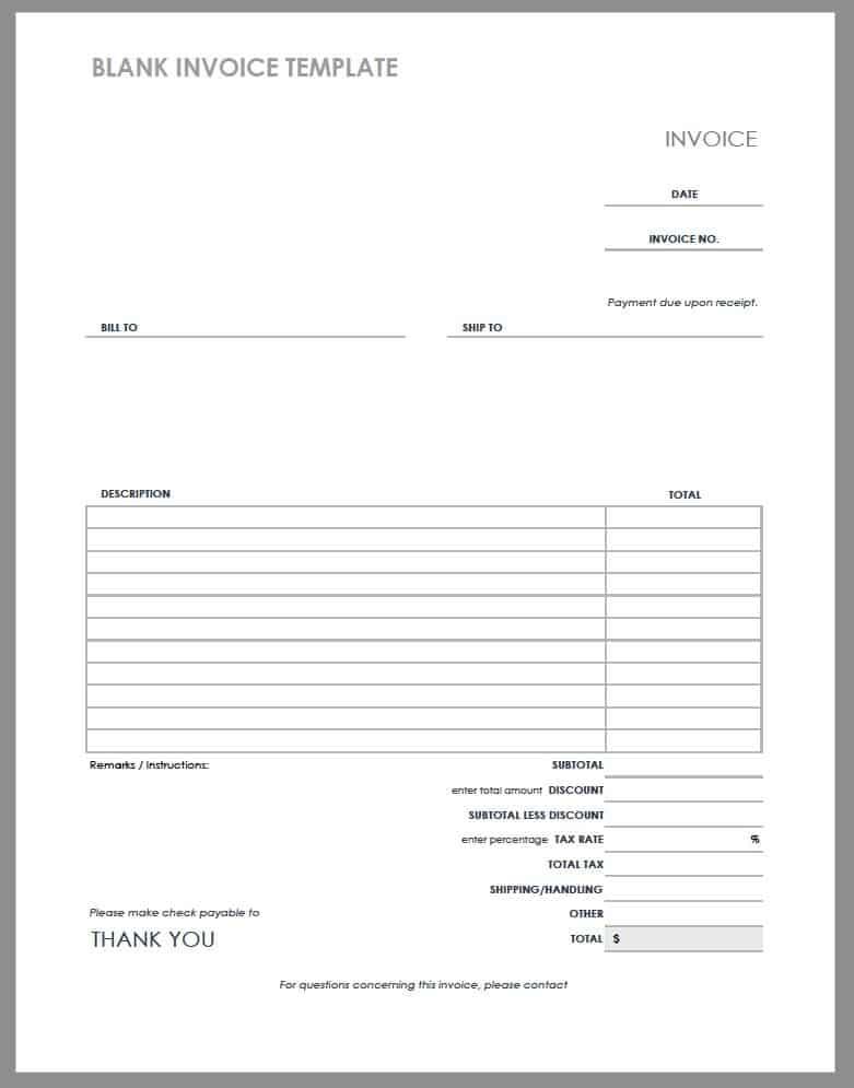 55 Free Invoice Templates Smartsheet - copy of blank invoice