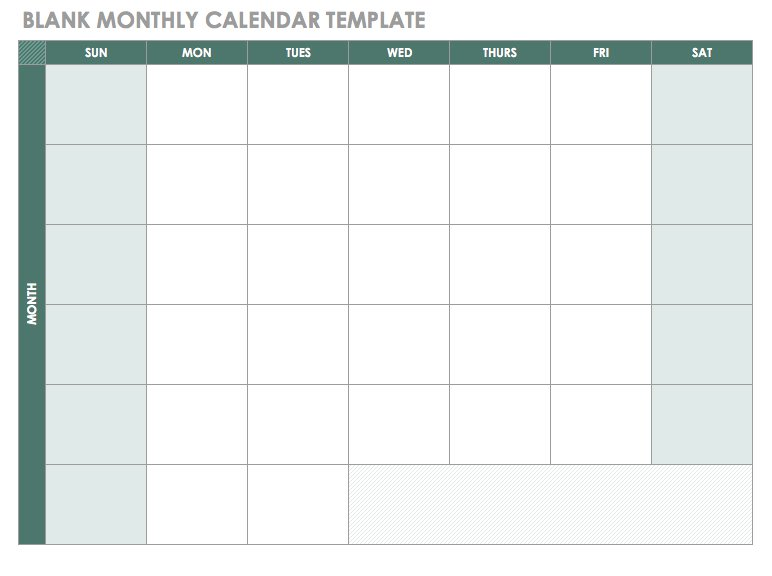 Free Excel Calendar Templates - monthly calendar blank