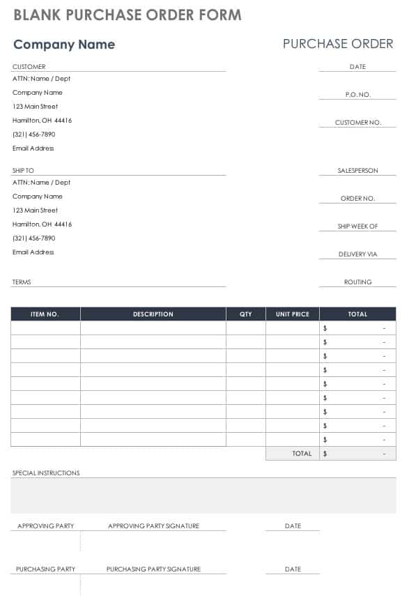 Free Purchase Order Templates Smartsheet - po form template