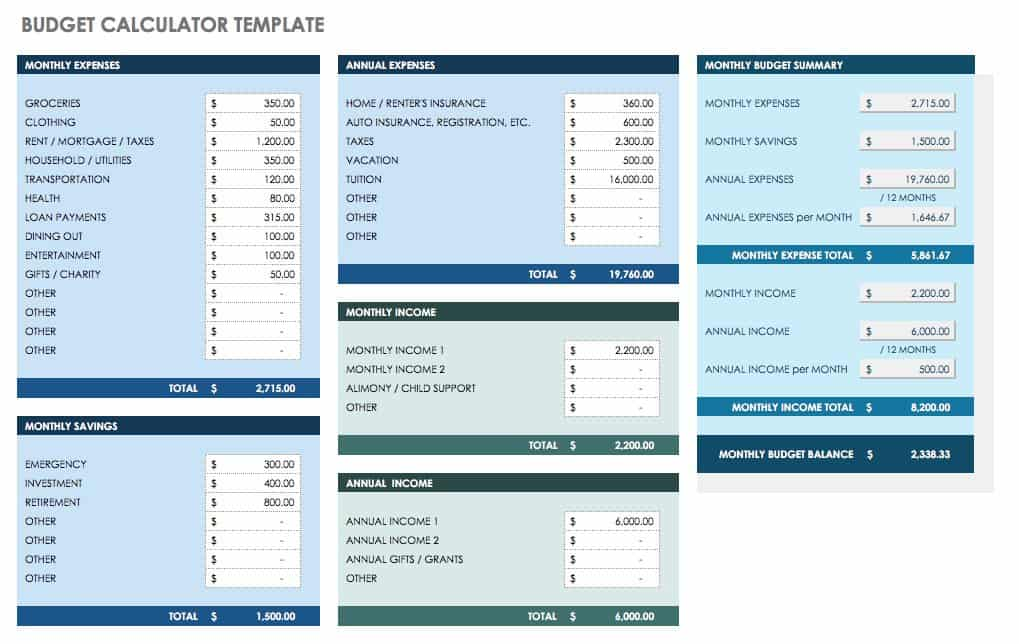 Free Monthly Budget Templates Smartsheet - monthly bill calculator