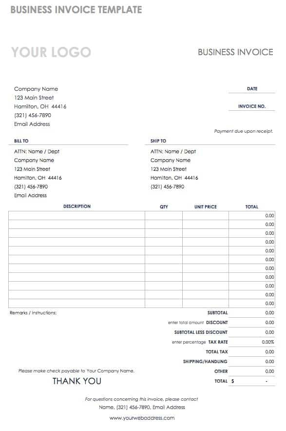 55 Free Invoice Templates Smartsheet - free invoice form template