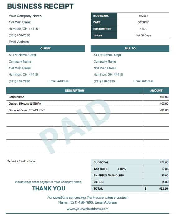 13 Free Business Receipt Templates Smartsheet - Examples Of Receipts For Payment