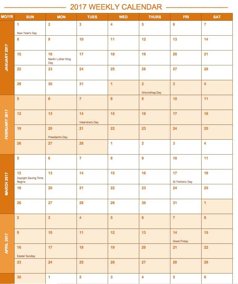 Calendar Template Excel August 2017 Calendar Template August 2017 - free weekly calendar