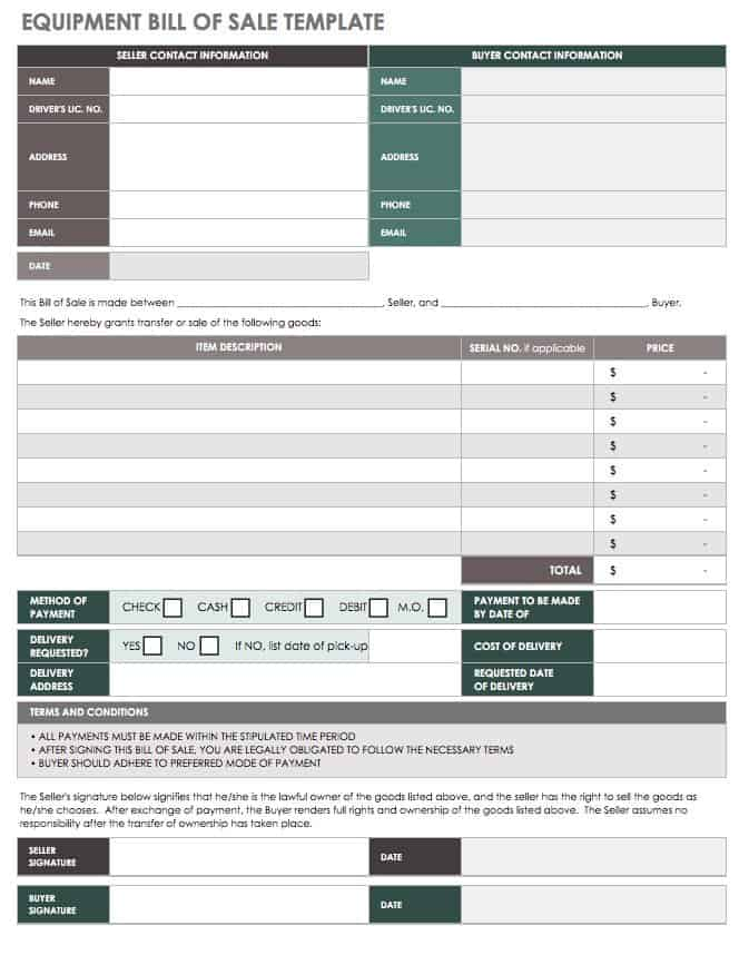 15 Free Bill of Sale Templates Smartsheet - equipment bill of sale
