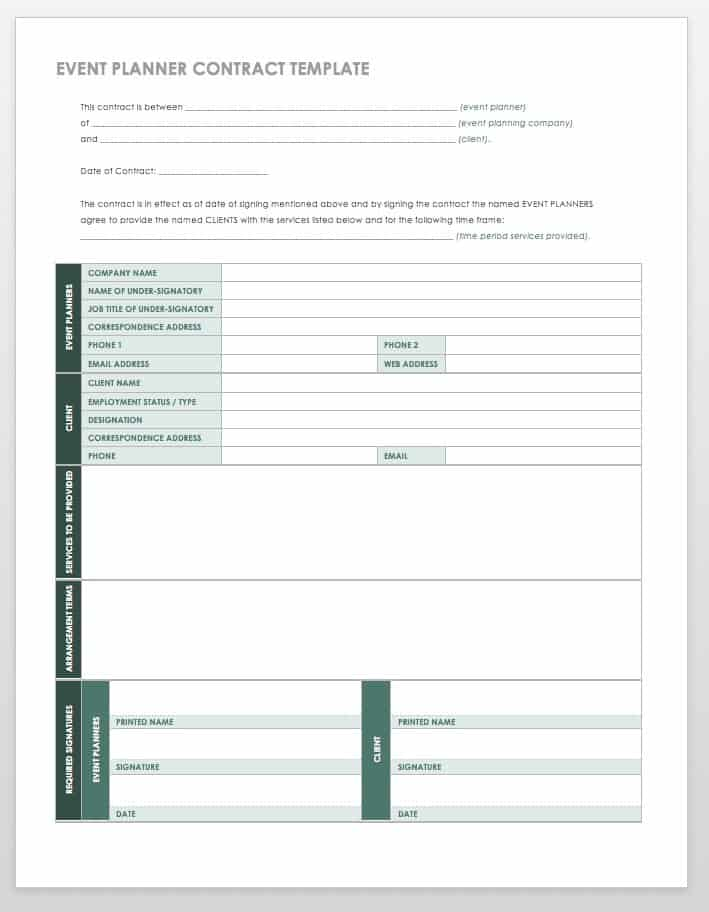21 Free Event Planning Templates Smartsheet - event planner contract example