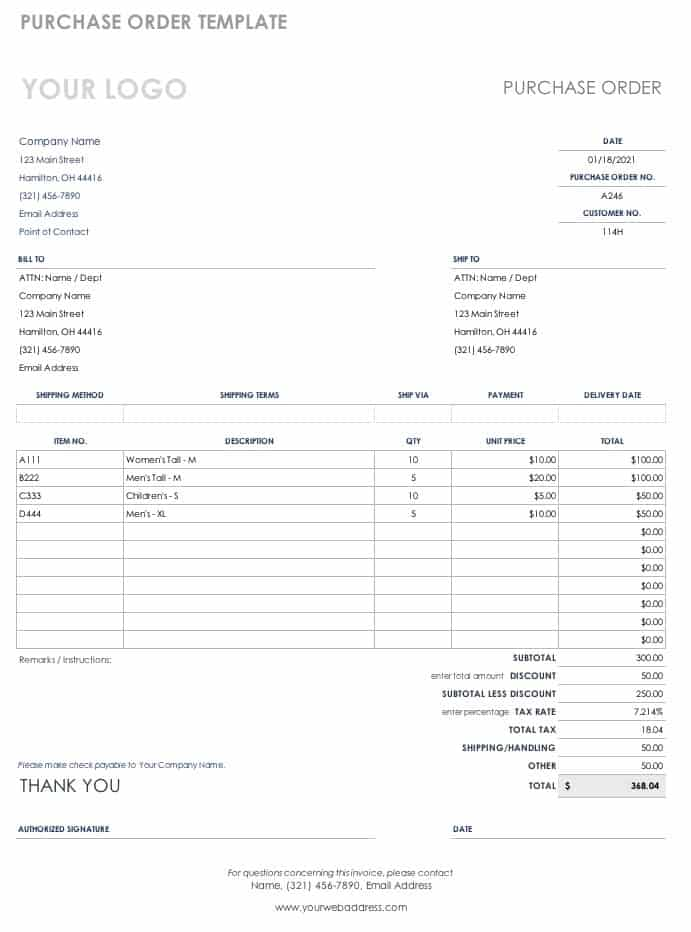 Free Purchase Order Templates Smartsheet - excel po template