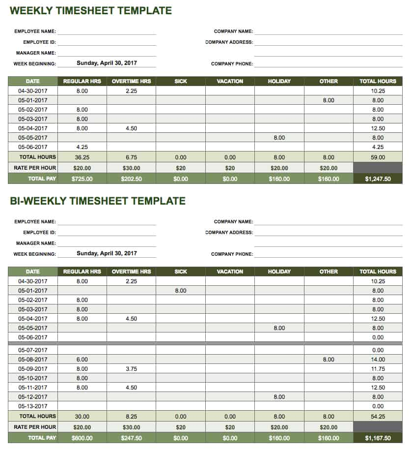 Free Google Docs and Spreadsheet Templates Smartsheet - rate sheet template