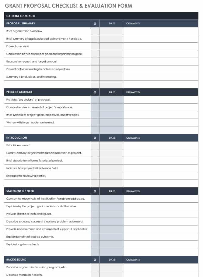 Free Grant Proposal Templates Smartsheet