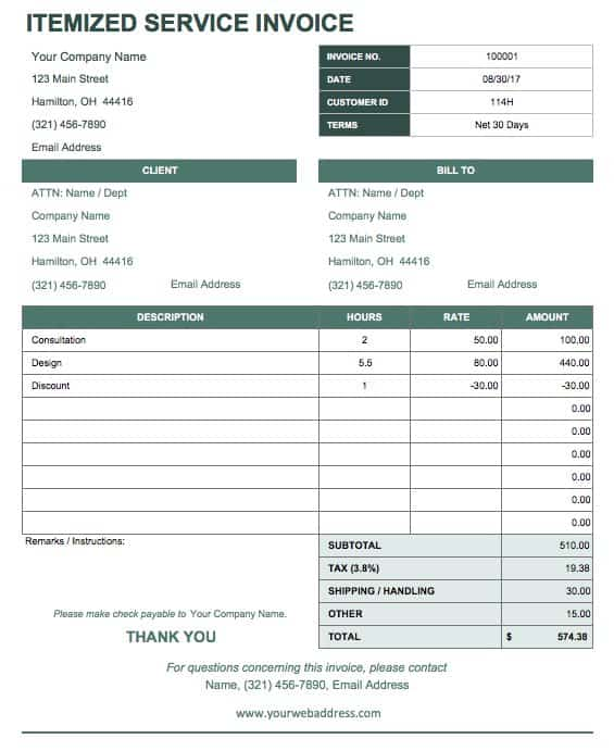 template for receipt of payment for services - zrom