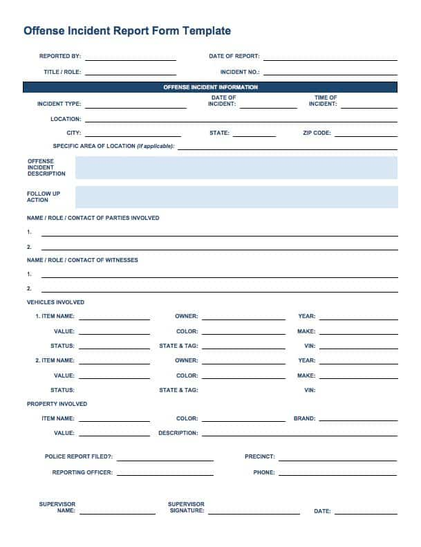Free Incident Report Templates Smartsheet - Tenant Information Form