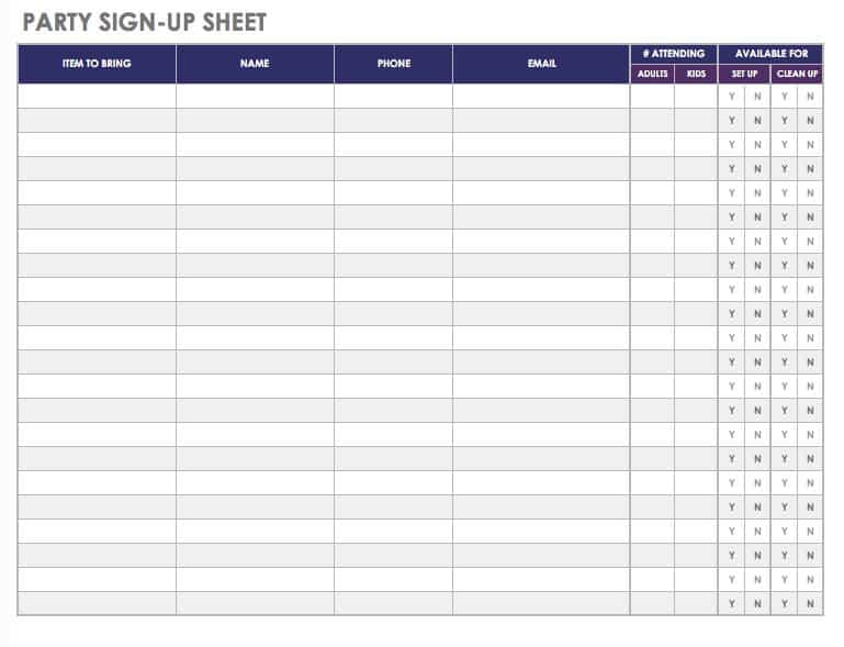 21 Free Event Planning Templates Smartsheet - committee sign up sheet template