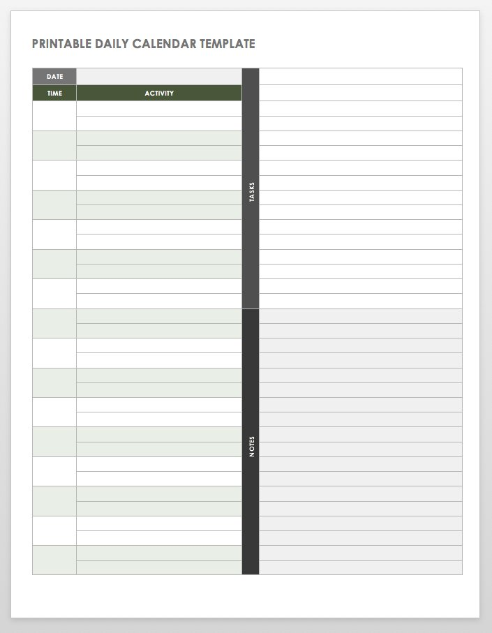 Free Printable Daily Calendar Templates Smartsheet - daily time schedule template