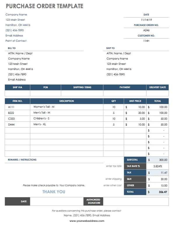 55 Free Invoice Templates Smartsheet - excel po template
