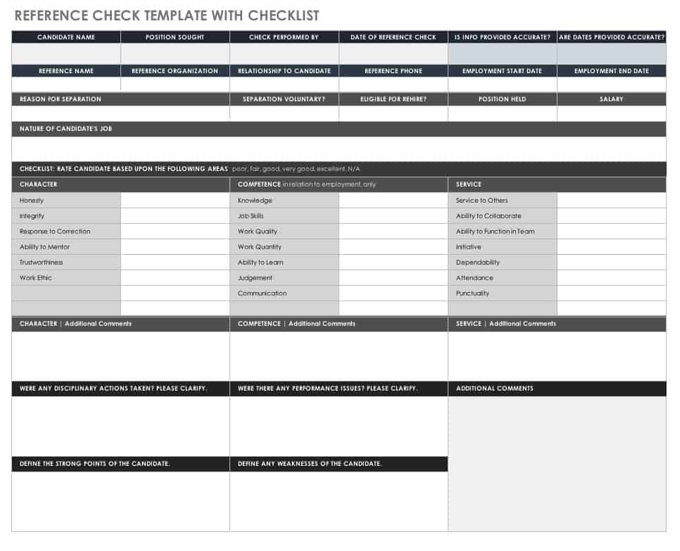 Reference Check Template Sample Reference Check Template Reference