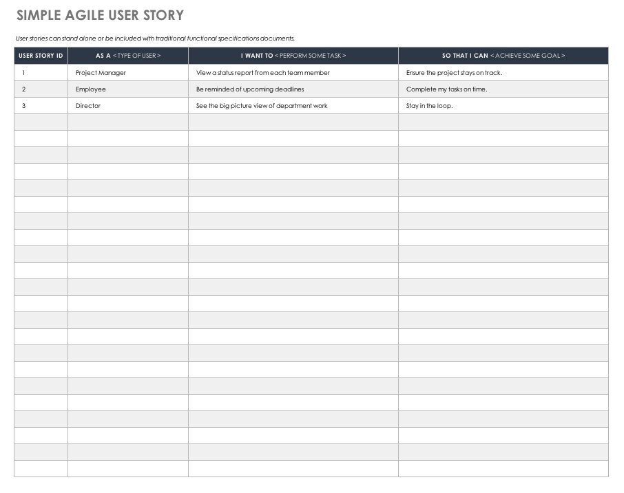 Free Functional Specification Templates Smartsheet - user story template
