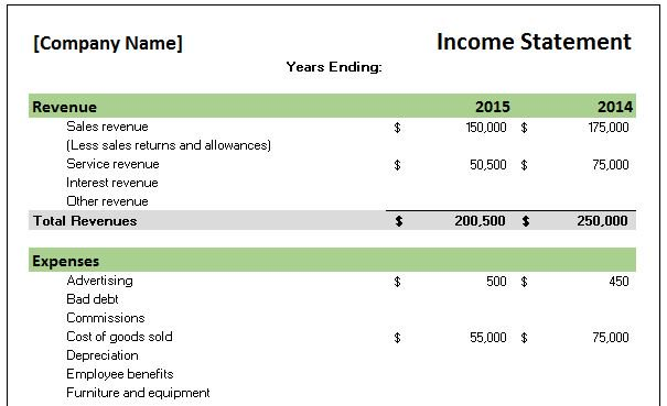 Free Accounting Templates in Excel - income statement template