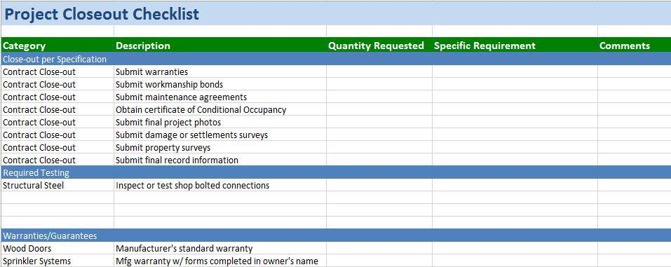 Free Construction Project Management Templates in Excel - renovation checklist template