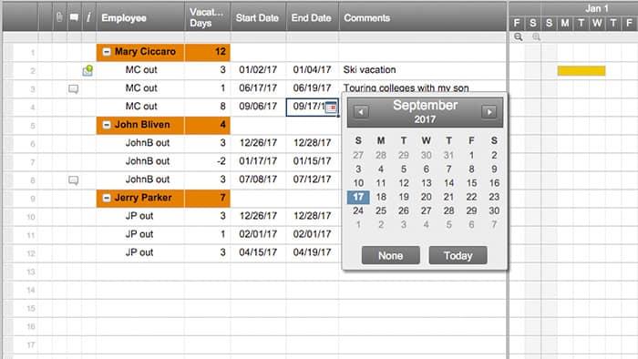 Smartsheet - vacation tracker app