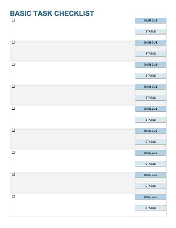 template checklist - Josemulinohouse - word checklist template