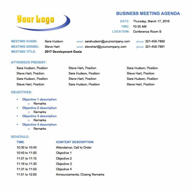 Free Meeting Agenda Templates - Smartsheet - conference schedule template