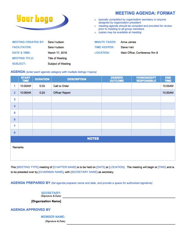 Free Meeting Agenda Templates - Smartsheet - board meeting agenda