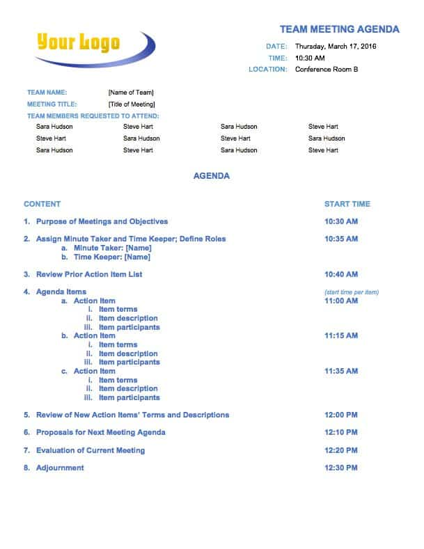 Free Meeting Agenda Templates - Smartsheet - meeting outline template