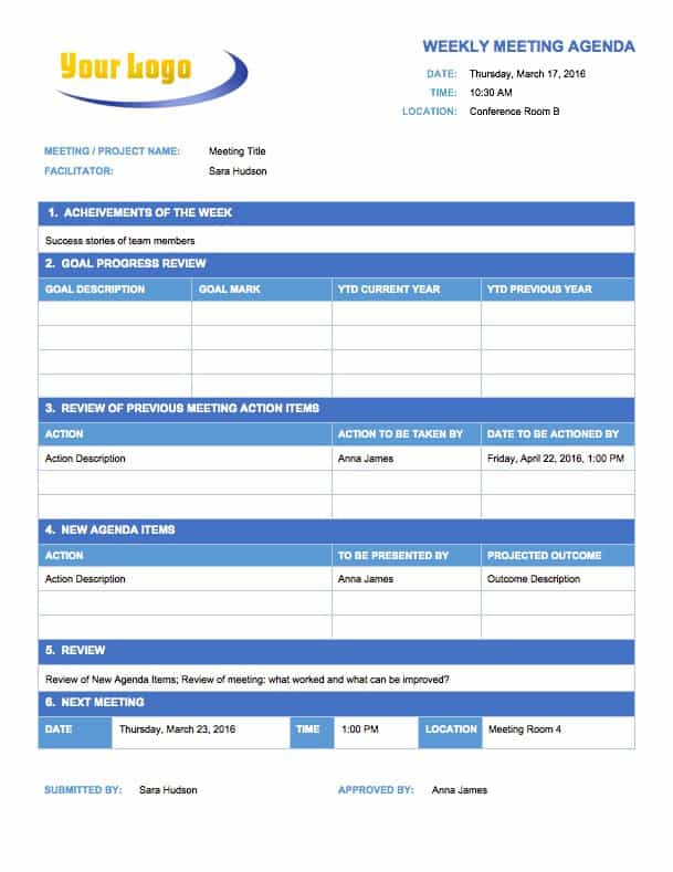 Free Meeting Agenda Templates - Smartsheet - sample meeting agenda 2